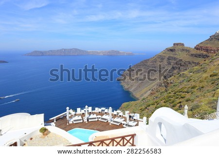Romantic spot in Santorini island , Greece