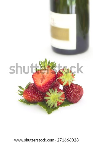 Romantic still life background with champagne and strawberries  - stock photo