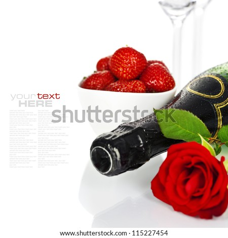 Romantic still life with champagne, strawberry and beautiful red roses over white (with easy removable text)