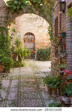 Romantic stone arch decorated with plants and flowers (Spello, Umbria, Italy.) - stock photo