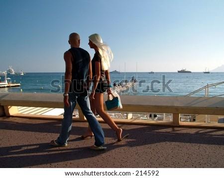 romantic stroll - stock photo