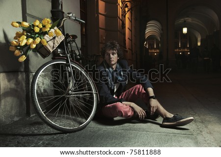 Romantic style photo of a handsome man - stock photo