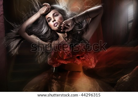 Romantic style portrait of a stunning beauty - stock photo