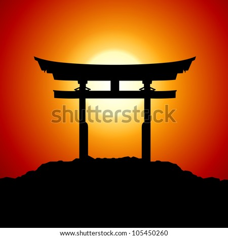 Romantic Sunset with japan gate - RASTER version - stock photo