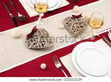 romantic table setting, close up - stock photo