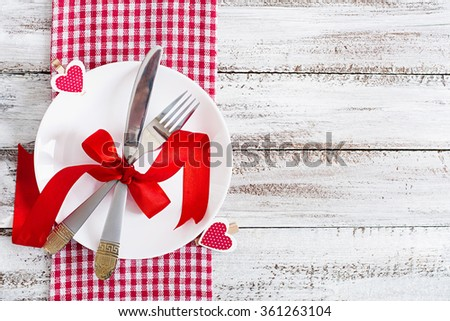 Romantic table setting for Valentines day in a rustic style. Top view - stock photo