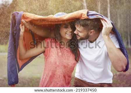 Romantic time in the rain  - stock photo