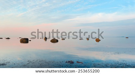 Romantic tranquil and peaceful dusk  sea view in Estonia - stock photo