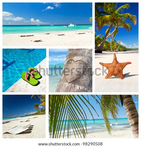 Romantic tropical collage with different parts of caribbean landscape - stock photo