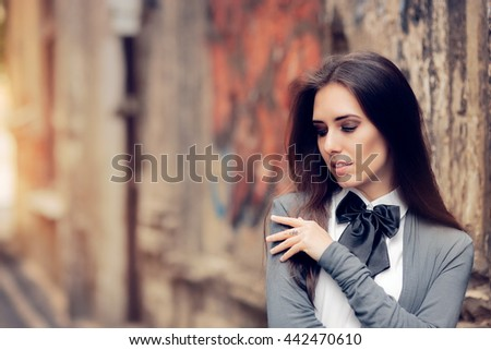 Romantic Urban Girl with Bowtie Accessory - Fashionable girl in melancholic state of mind
