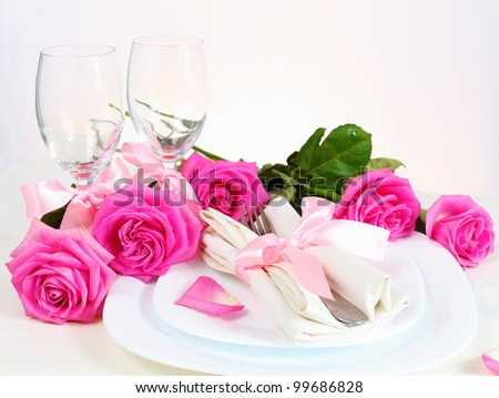 Romantic Valentine Dinner for Two Lovers in Pink - stock photo