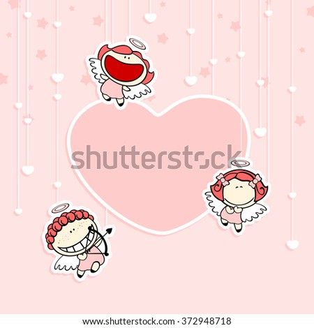 Romantic Valentine's Day card with cute cupids and space for your text or photo (raster version) - stock photo