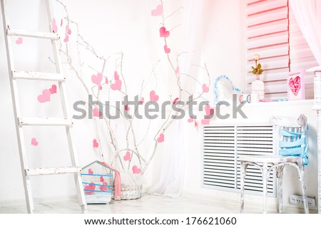 romantic Valentine's Day interior with pink hearts on ? tree - stock photo
