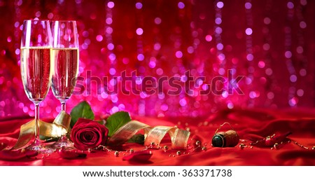 Romantic Valentines Day - Champagne And Rose  - stock photo