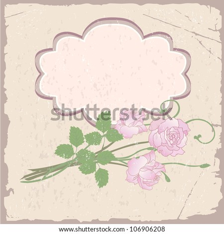 Romantic vector background with roses on old paper - stock photo