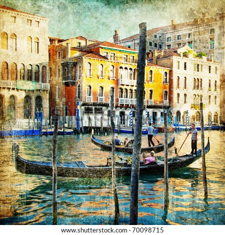 romantic venice - artwork in painting style - stock photo