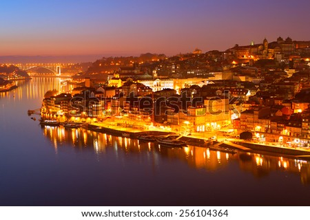 Romantic view of an Old Town of Porto at twilight, Portugal - stock photo