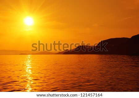 Romantic view of the sunset on sea
