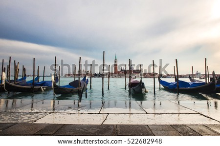 romantic view of venetian gondolas