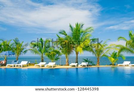 Romantic Villa Resort Relaxation - stock photo