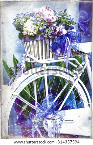 Romantic vintage cards - bike with flowers - stock photo