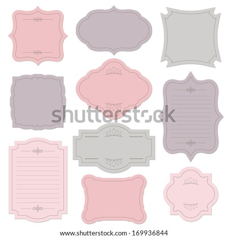 Romantic vintage frame set, isolated on white. Raster copy. - stock photo