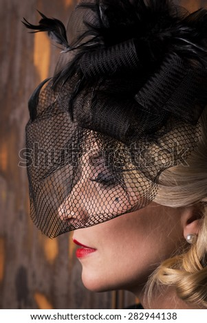Romantic vintage woman with red rouge - stock photo