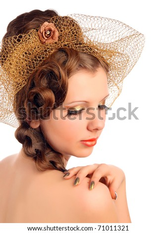Romantic woman in veil - stock photo