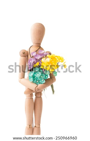 Romantic Wooden people hold the flower on White Isolated Background - stock photo