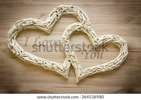 romantic word in two heart - stock photo