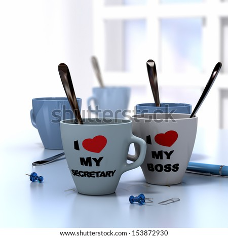 Romantic workplace relationship concept consisting of two mugs where it is written I love My secretary and my boss - stock photo