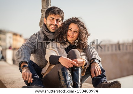 Romantic Young Couple in the City - stock photo