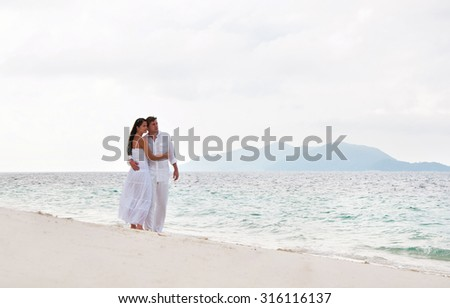 Romantic young couple near the seaside