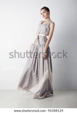 Romantic young woman beauty wearing white fashion dress - stock photo