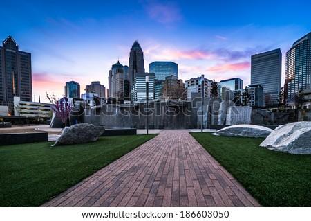 Romare-Bearden park in uptown Charlotte, North Carolina at sunrise - stock photo