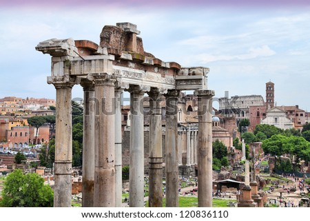 Rome - ancient Roman Forum, UNESCO World Heritage Site. Colosseum is visible in background.