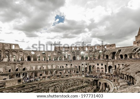 ROME - April 4: Colosseum (Coliseum) in on April 4, 2014 Rome, Italy. The Colosseum is an important monument of antiquity and is one of the main tourist attractions of Rome.