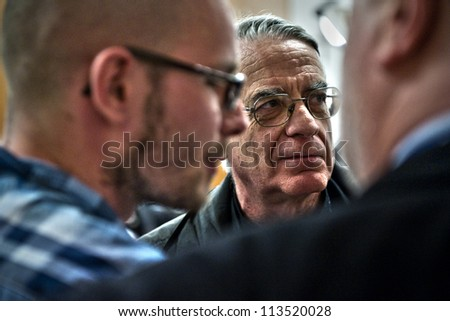 ROME- APRIL 2011 : Father Federico Lombardi, director of the Holy See Press Office,  prepares to meet members of the media at the Vatican Press Center, in Vatican City, on April 30, 2011. - stock photo