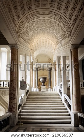 ROME, APRIL 22: Interior with stairs of the Vatican Museum in the Vatican City, Rome, Italy