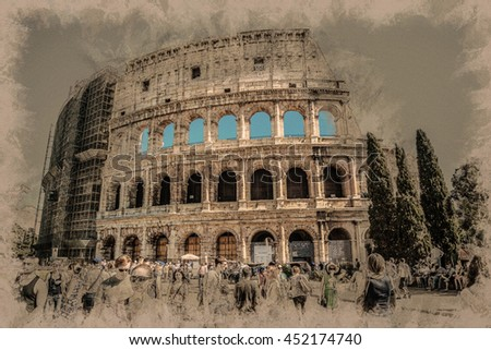 ROME - AUGUST 25: Colosseum (Coliseum) on August 25, 2014 in Rome, Italy. The Colosseum is an important monument of antiquity and is one of the main tourist attractions of Rome. - stock photo