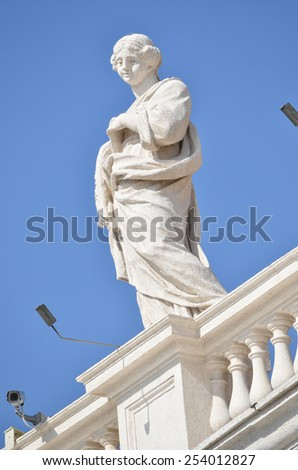ROME - AUGUST 27, 2014: Sculptures on the facade of Vatican city, Vatican, Rome, Italy