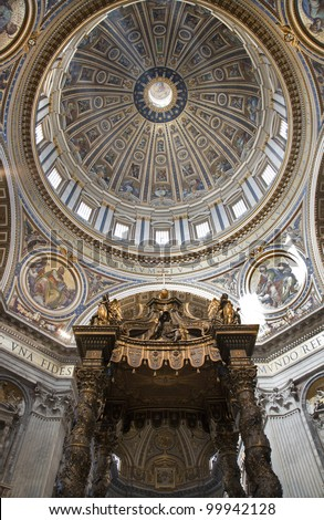 Rome - Bernini s baldachin and cupola in basilica di San Pietro - st. Peter s basilica - stock photo