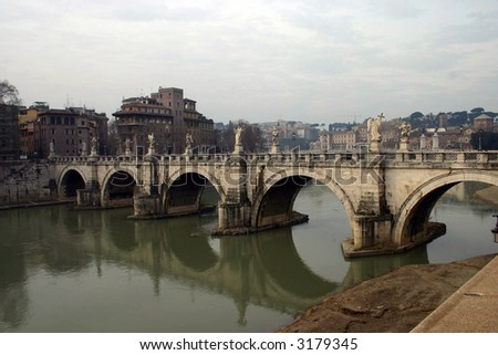 Rome, bridge - stock photo