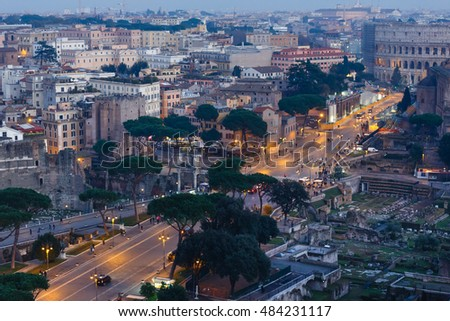 Rome City evening  illuminated view from Il Vittoriano top.