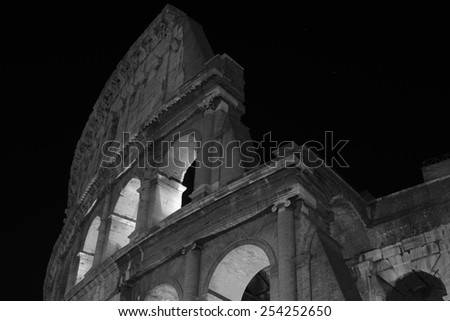 Rome. City landscape. places of Interest. Attractions. View of Rome historic center, Italy  Black-and-white photo. - stock photo