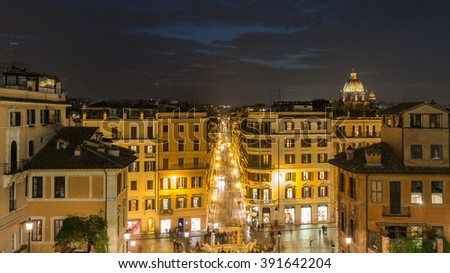 Rome City, the capital of Italy in a summer night with a colorful panoramic sunset aerial view toward the city shopping street, Barcaccia Fountain from Spanish steps under dramatic sky crescent moon - stock photo