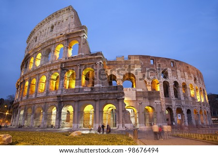 Rome - colosseum in evening