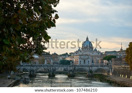 Rome. Colourful view of the Vatican. Italia. - stock photo