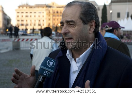 "ROME - DEC. 5 : Antonio di Pietro gives interview at ""No Berlusconi Day"" December 5, 2009 in Rome. Italian PM Silvio Berlusconi under pressure to resign due to his sex scandal and corruption charges."