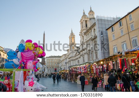 ROME-DEC 2, 2012: Christmas Market at the Piazza Navona on Dec 2, 2012 in Rome. The Piazza Navona is one of most famous squares in rome, including the fountain of the four rivers of Bernini. - stock photo